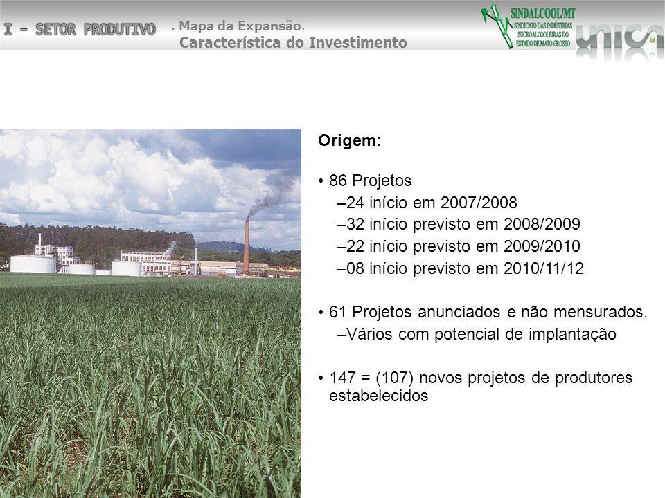 Origem: 86 Projetos –24 início em 2007/2008 –32 início previsto em 2008/2009 –22 início previsto em 2009/2010 –08 início previsto em 2010/11/12 61 Pro