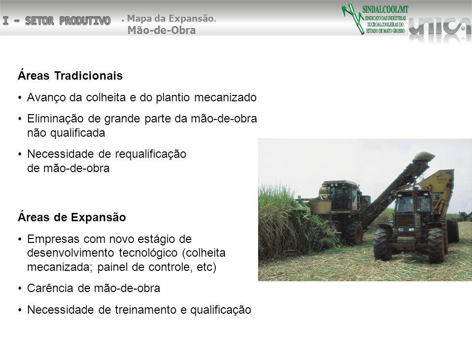 Áreas Tradicionais Avanço da colheita e do plantio mecanizado Eliminação de grande parte da mão-de-obra não qualificada Necessidade de requalificação