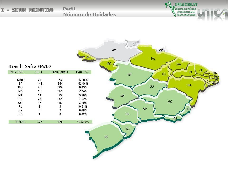 SP RJ SC MG PR RS ES MS GO MT AM RO AC PA BA TO MA PI CE SE PE RN AL PB RO AM Brasil: Safra 06/07 REG./EST.UP´sCANA (MMT)PART.