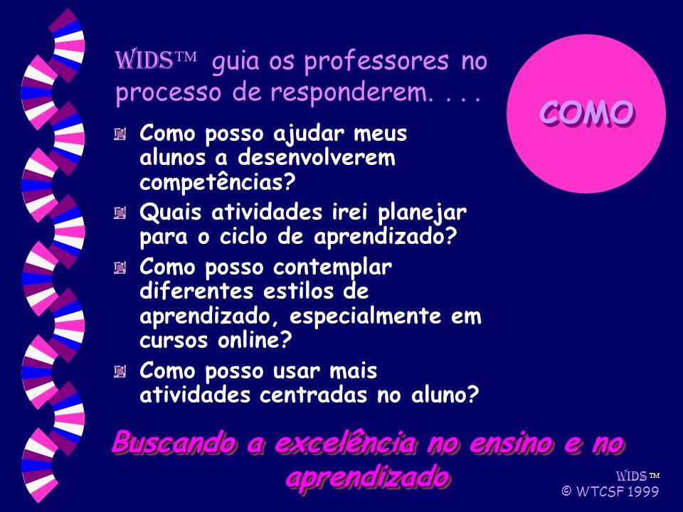 WIDS © WTCSF 1999 Como posso ajudar meus alunos a desenvolverem competências.
