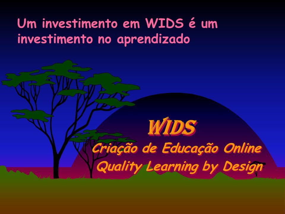 WIDS Criação de Educação Online Um investimento em WIDS é um investimento no aprendizado Quality Learning by Design