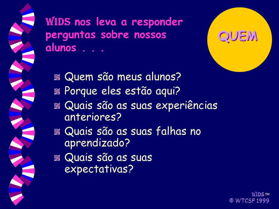 WIDS © WTCSF 1999 Quem são meus alunos. Porque eles estão aqui.