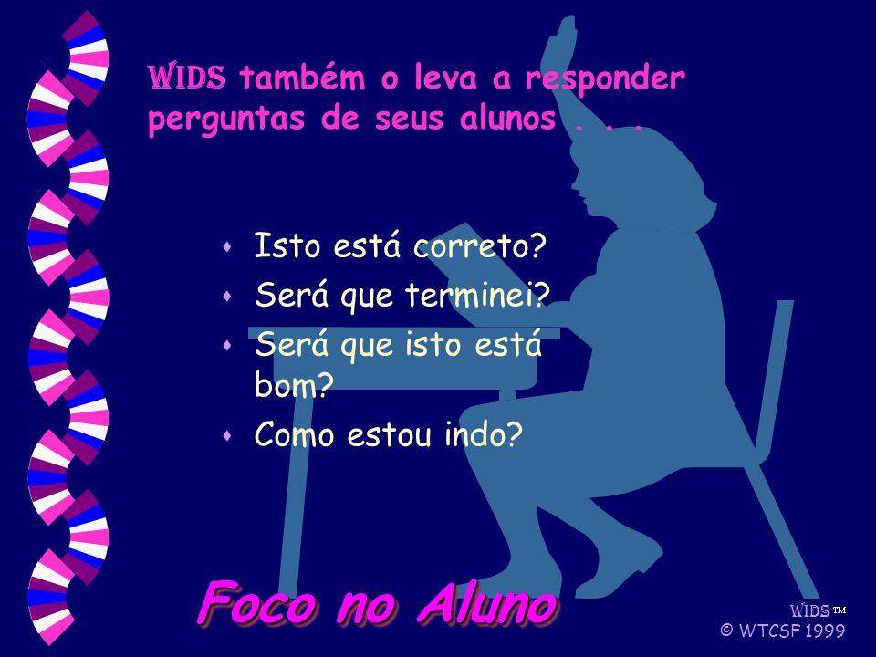 WIDS © WTCSF 1999 Foco no Aluno WIDS também o leva a responder perguntas de seus alunos...
