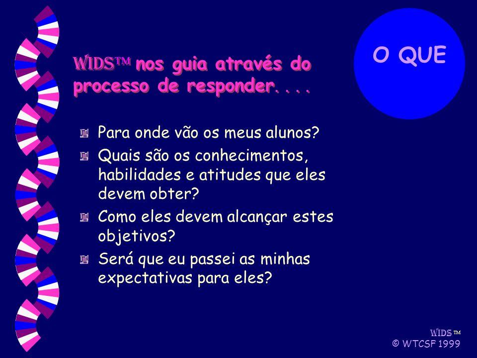 WIDS © WTCSF 1999 Para onde vão os meus alunos.