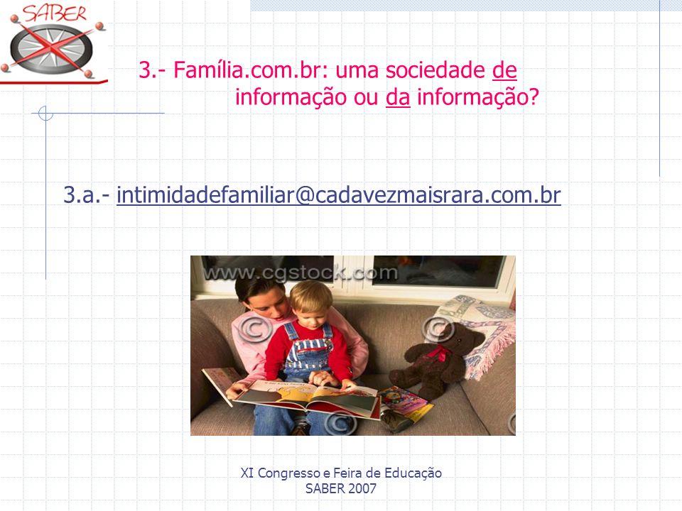 XI Congresso e Feira de Educação SABER 2007 3.- Família.com.br: uma sociedade de informação ou da informação? 3.a.- intimidadefamiliar@cadavezmaisrara