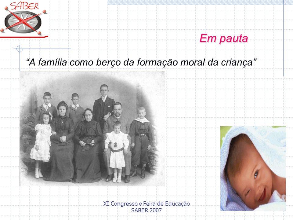 XI Congresso e Feira de Educação SABER 2007 A família como berço da formação moral da criança Em pauta Em pauta