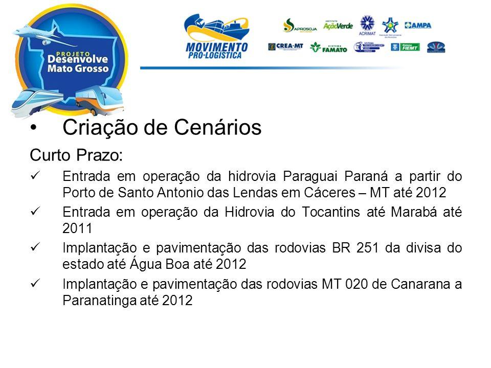 Criação de Cenários Curto Prazo: Entrada em operação da hidrovia Paraguai Paraná a partir do Porto de Santo Antonio das Lendas em Cáceres – MT até 201