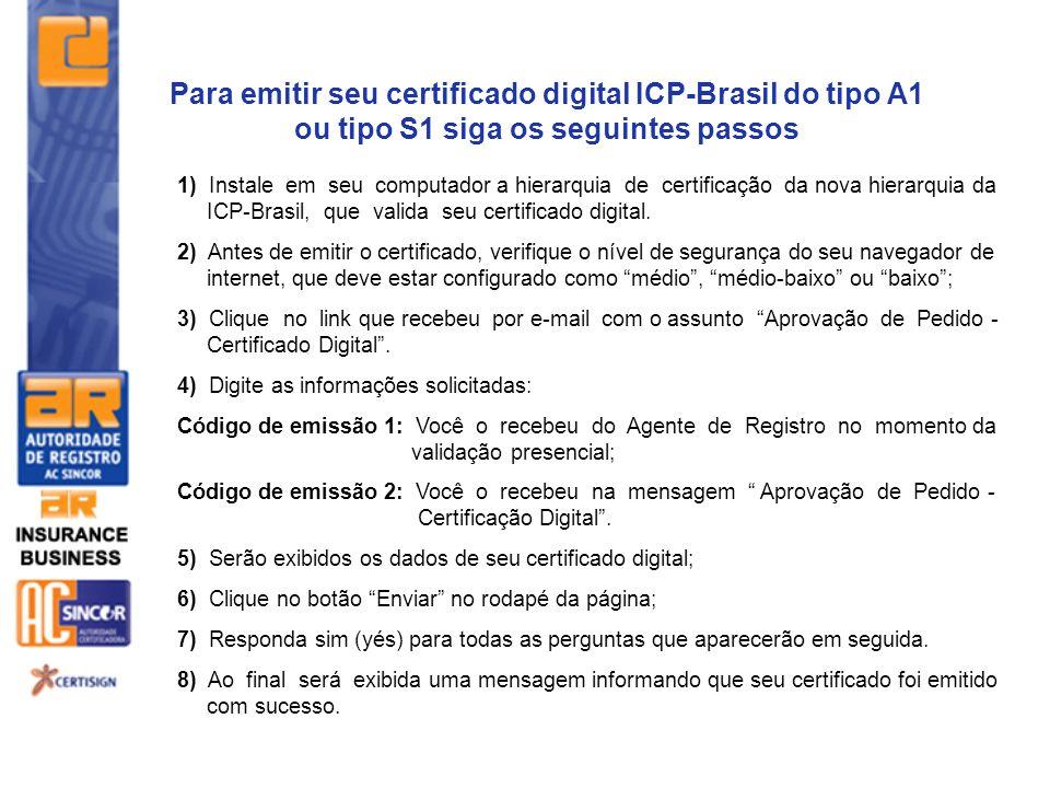 1) Instale em seu computador a hierarquia de certificação da nova hierarquia da ICP-Brasil, que valida seu certificado digital. 2) Antes de emitir o c