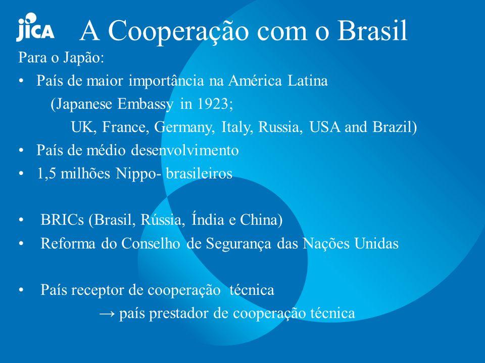 Áreas Prioritárias para o Brasil Conservancies do Meio ambiente -Conservação e uso sustentável dos recursos naturais -Melhoramento do ambiente urbano Diminuição das Diferenças para o Desenvolvimento Regional e Social (Combate à Pobreza) Cooperação Tripartite (cooperação sul-sul)