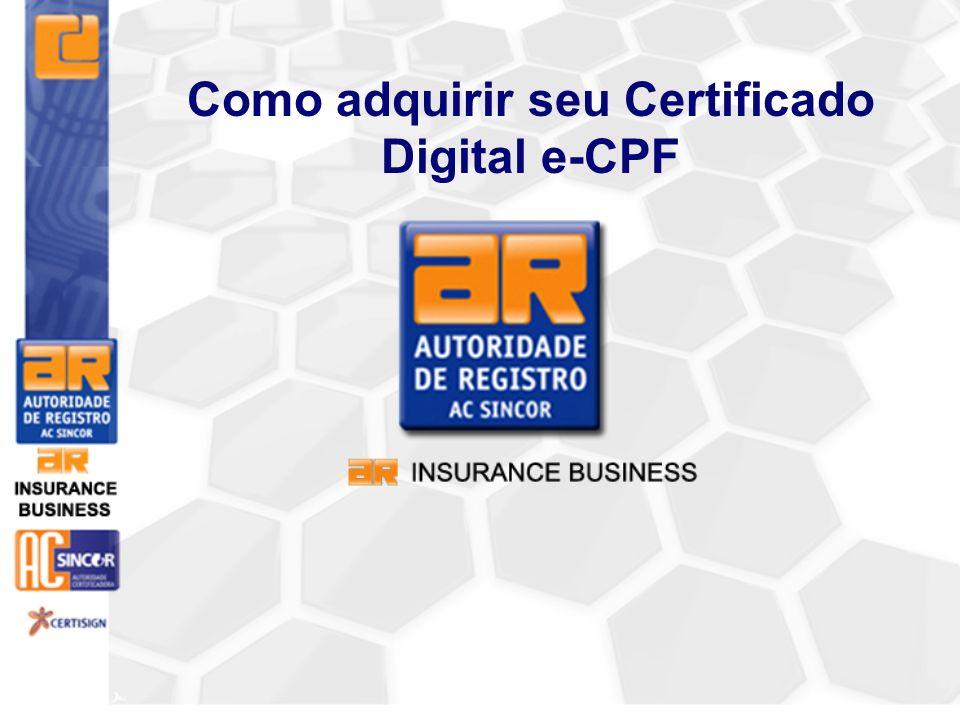 3° Passo Dirigir-se a Autoridade de Registro ( AR ), previamente agendado para o reconhecimento presencial, munido de documentos necessários e do comprovante de pagamento do Certificado Digital.