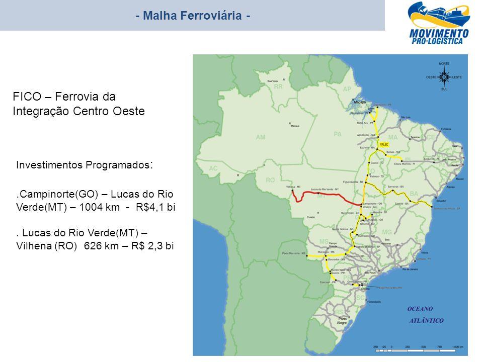 - Malha Ferroviária - Investimentos Programados :. Campinorte(GO) – Lucas do Rio Verde(MT) – 1004 km - R$4,1 bi. Lucas do Rio Verde(MT) – Vilhena (RO)