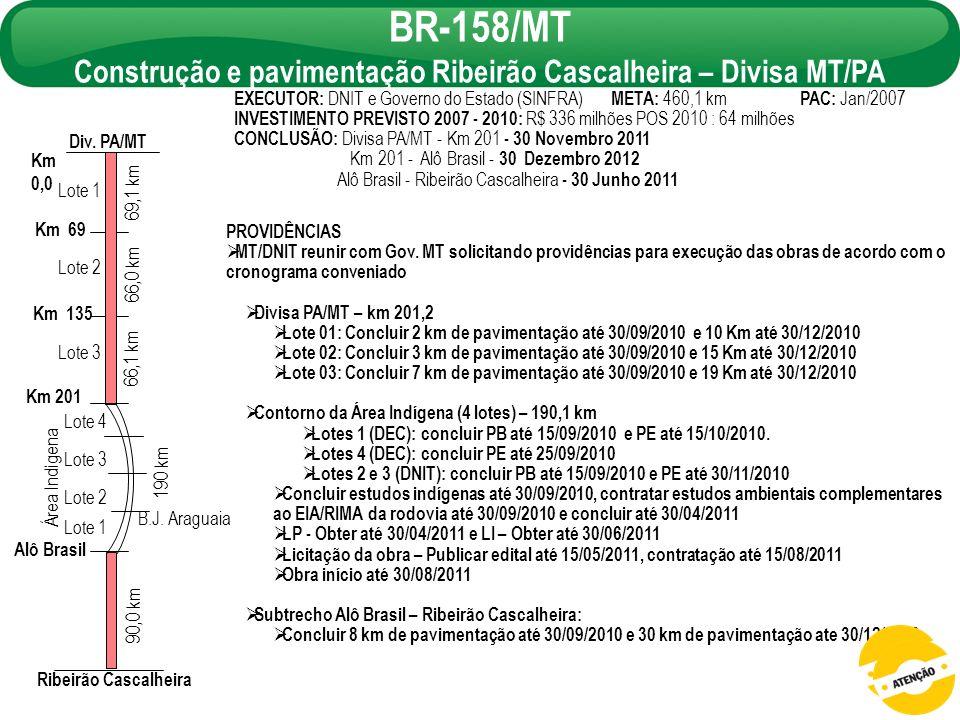 BR-158/MT Construção e pavimentação Ribeirão Cascalheira – Divisa MT/PA PROVIDÊNCIAS MT/DNIT reunir com Gov. MT solicitando providências para execução