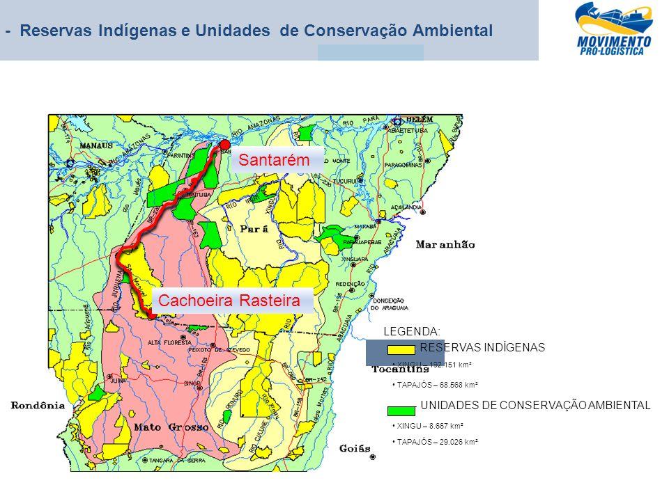 - Reservas Indígenas e Unidades de Conservação Ambiental Cachoeira Rasteira Santarém - RESERVAS INDÍGENAS XINGU – 192.151 km² TAPAJÓS – 68.568 km² - U