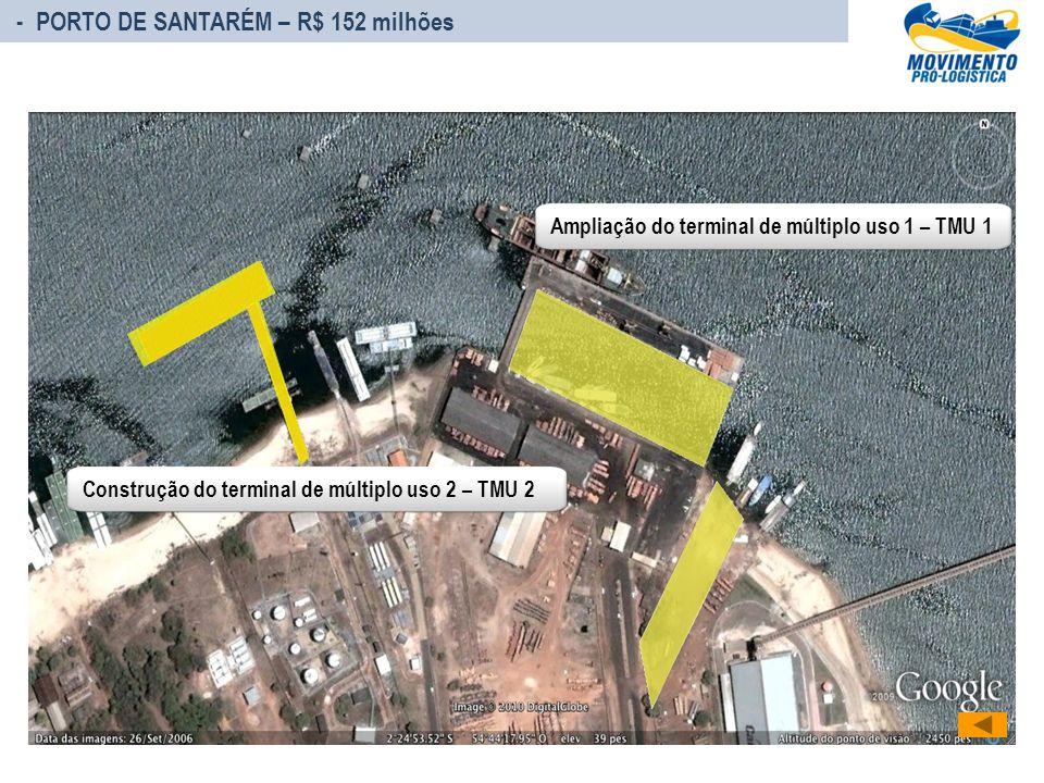 Ampliação do terminal de múltiplo uso 1 – TMU 1Construção do terminal de múltiplo uso 2 – TMU 2 - PORTO DE SANTARÉM – R$ 152 milhões