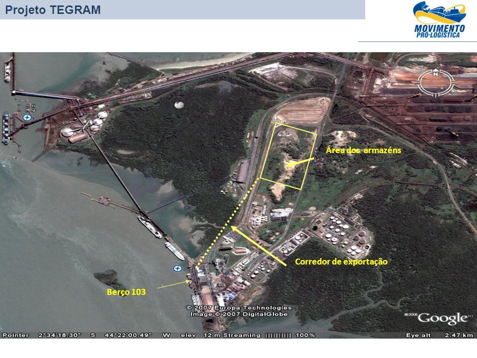 Berço 103 Área dos armazéns Corredor de exportação Projeto TEGRAM