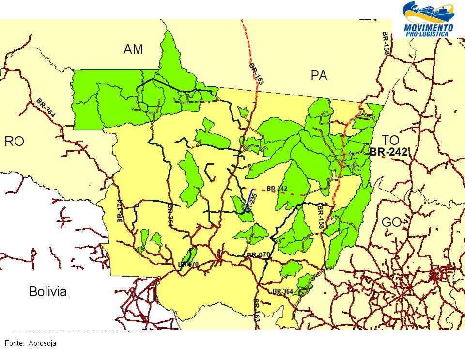 Obras necessárias em Rodovias estaduais Fonte: Aprosoja Geral Extensão total das obras: 2.845,52 km