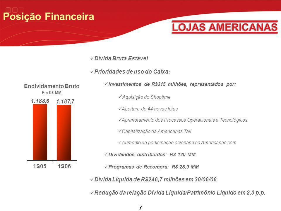 7 Posição Financeira Endividamento Bruto Em R$ MM Dívida Bruta Estável Prioridades de uso do Caixa: Investimentos de R$315 milhões, representados por: