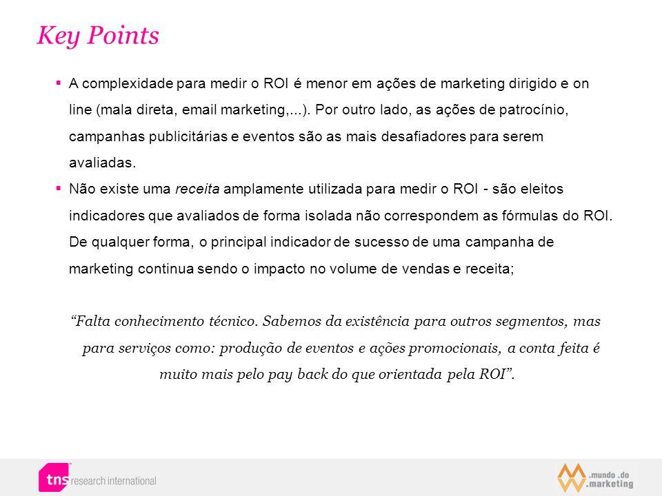 Key Points A complexidade para medir o ROI é menor em ações de marketing dirigido e on line (mala direta, email marketing,...). Por outro lado, as açõ