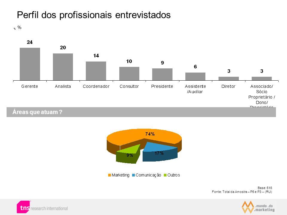 Perfil dos profissionais entrevistados Áreas que atuam ? Base: 516 Fonte: Total da Amostra – P5 e P3 – (RU)