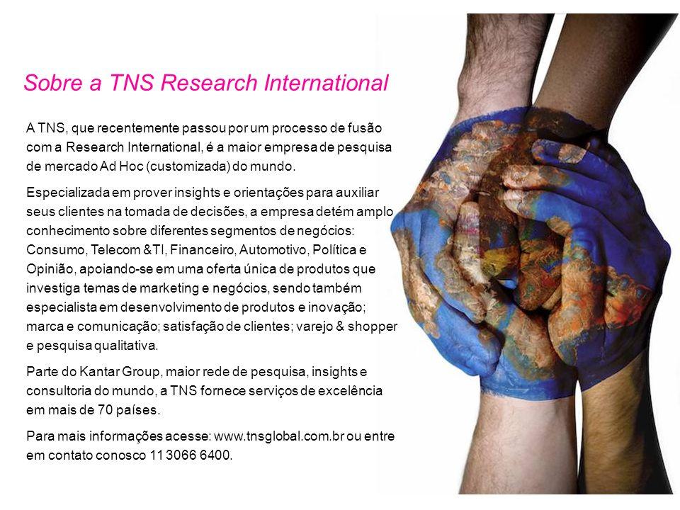 Sobre a TNS Research International A TNS, que recentemente passou por um processo de fusão com a Research International, é a maior empresa de pesquisa