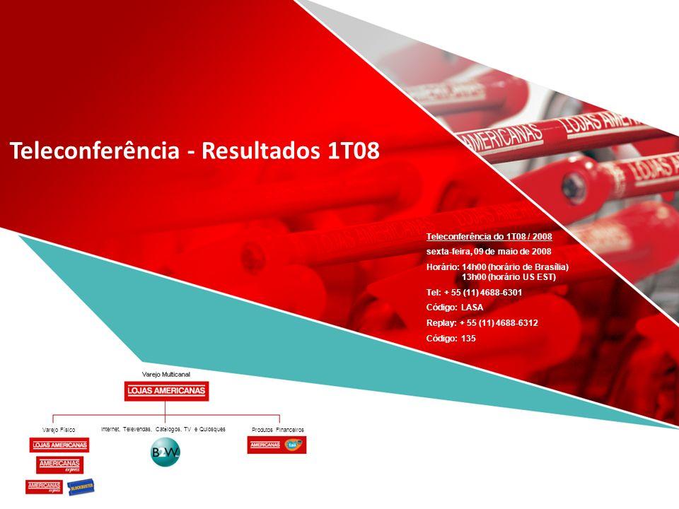 Produtos Financeiros Internet, Televendas, Cat á logos, TV e Quiosques Teleconferência - Resultados 1T08 Teleconferência do 1T08 / 2008 sexta-feira, 0