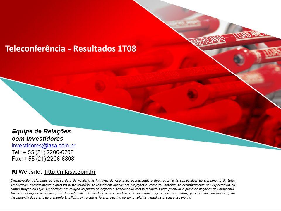 Teleconferência - Resultados 1T08 Considerações referentes às perspectivas do negócio, estimativas de resultados operacionais e financeiros, e às pers