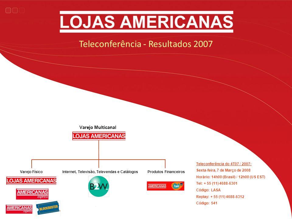 Teleconferência - Resultados 2007 Teleconferência do 4T07 / 2007: Sexta-feira, 7 de Março de 2008 Horário: 14h00 (Brasil) / 12h00 (US EST) Tel: + 55 (