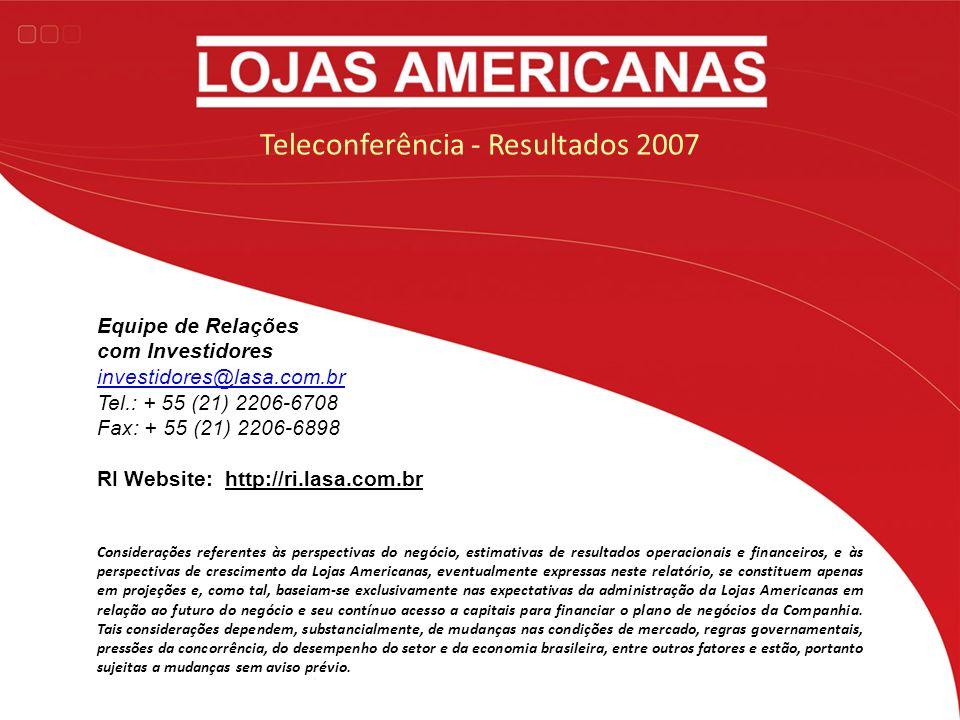 Teleconferência - Resultados 2007 Considerações referentes às perspectivas do negócio, estimativas de resultados operacionais e financeiros, e às pers