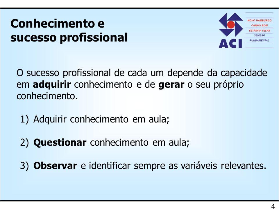 Conhecimento e sucesso profissional 5 Capacidade de cada um em relacionar-se com o meio e de gerar conhecimento próprio.