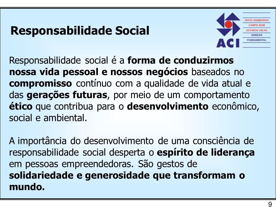 Responsabilidade Social 9 Responsabilidade social é a forma de conduzirmos nossa vida pessoal e nossos negócios baseados no compromisso contínuo com a