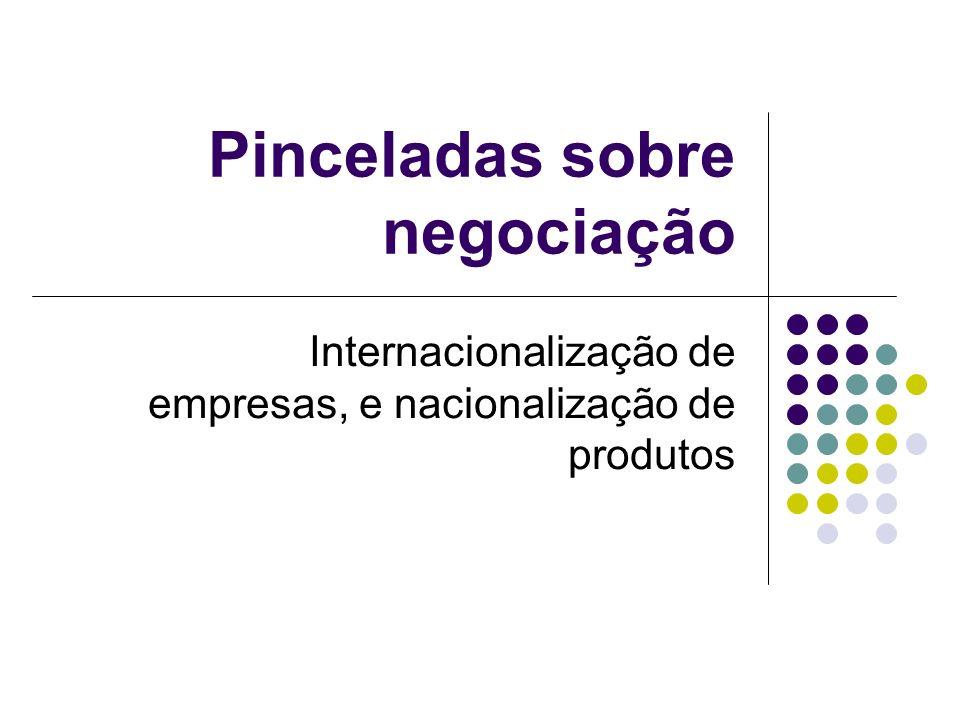 Pinceladas sobre negociação Internacionalização de empresas, e nacionalização de produtos