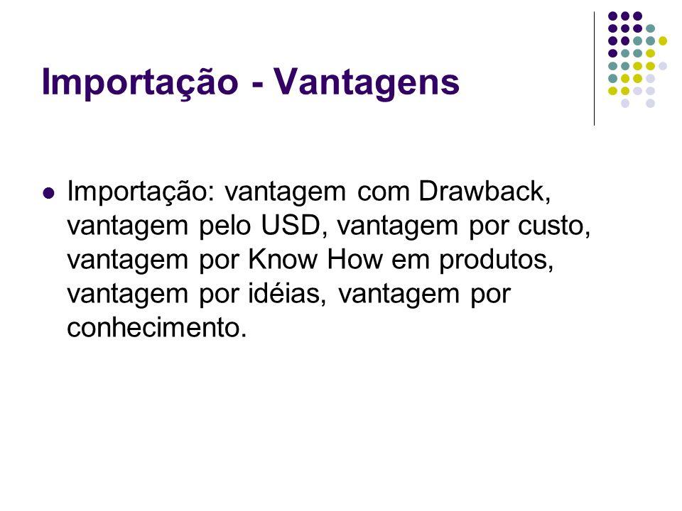 Importação - Vantagens Importação: vantagem com Drawback, vantagem pelo USD, vantagem por custo, vantagem por Know How em produtos, vantagem por idéia