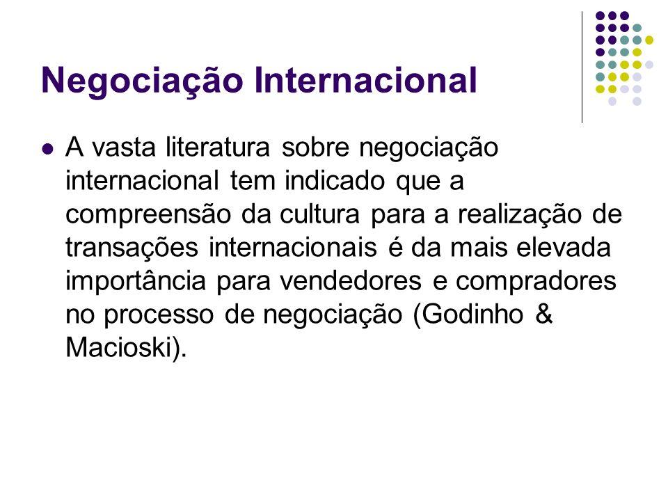 Negociação Internacional A vasta literatura sobre negociação internacional tem indicado que a compreensão da cultura para a realização de transações i