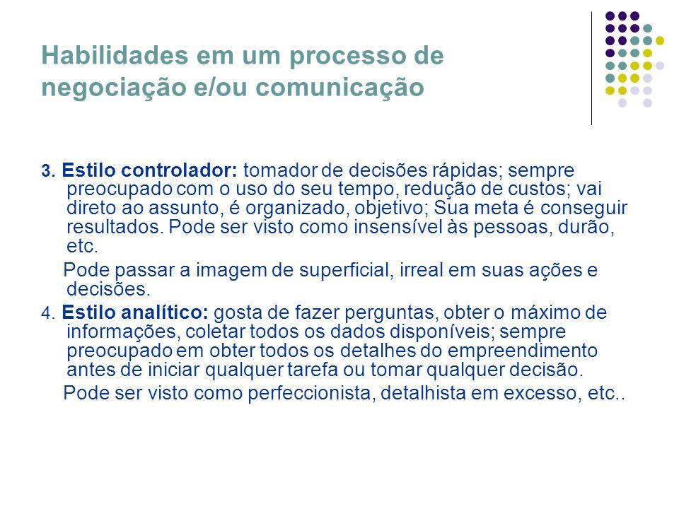 Habilidades em um processo de negociação e/ou comunicação 3. Estilo controlador: tomador de decisões rápidas; sempre preocupado com o uso do seu tempo