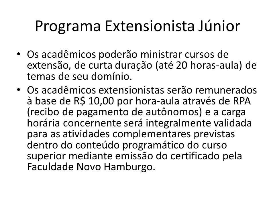 Programa Extensionista Júnior Os acadêmicos poderão ministrar cursos de extensão, de curta duração (até 20 horas-aula) de temas de seu domínio. Os aca