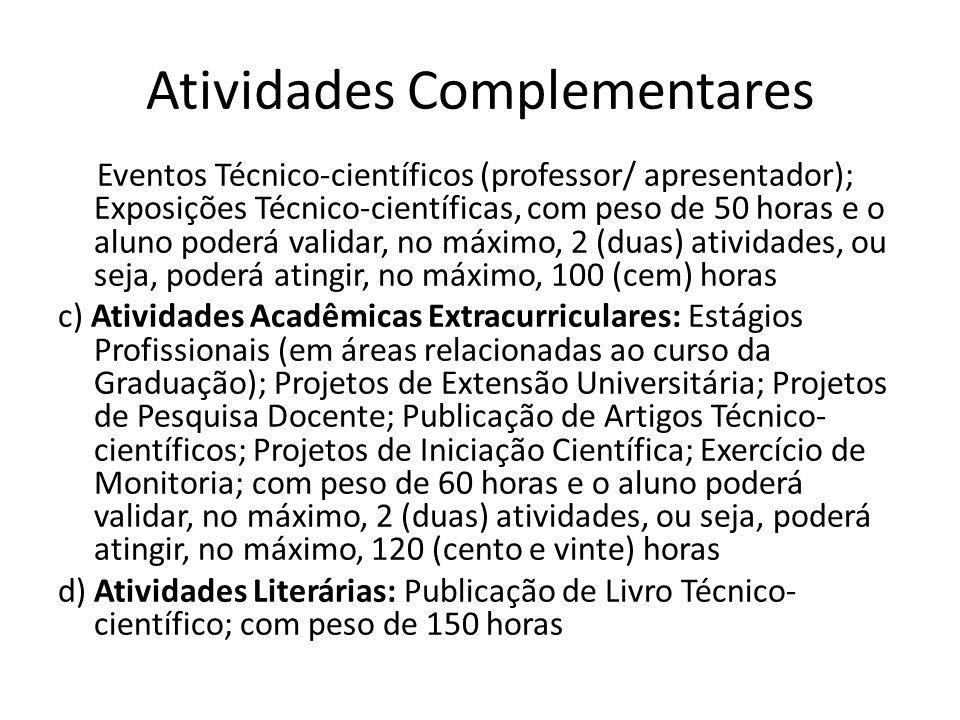 Atividades Complementares Eventos Técnico-científicos (professor/ apresentador); Exposições Técnico-científicas, com peso de 50 horas e o aluno poderá