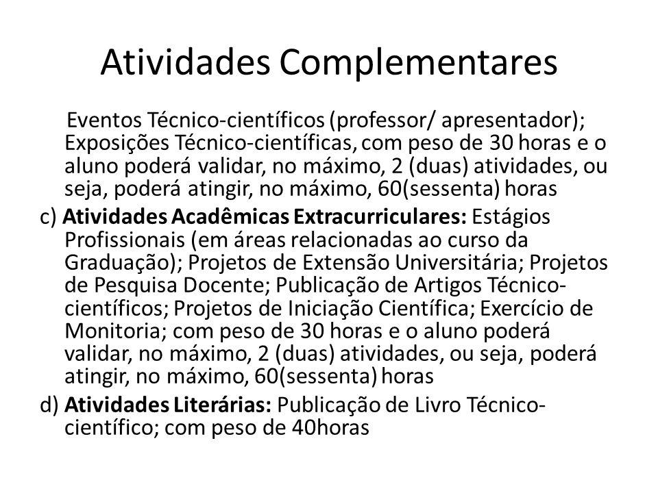 Atividades Complementares Eventos Técnico-científicos (professor/ apresentador); Exposições Técnico-científicas, com peso de 30 horas e o aluno poderá