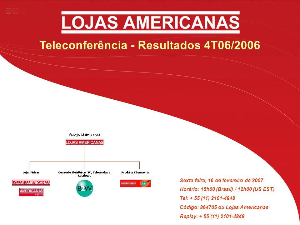 Teleconferência - Resultados 4T06/2006 Sexta-feira, 16 de fevereiro de 2007 Horário: 15h00 (Brasil) / 12h00 (US EST) Tel: + 55 (11) 2101-4848 Código: 864705 ou Lojas Americanas Replay: + 55 (11) 2101-4848