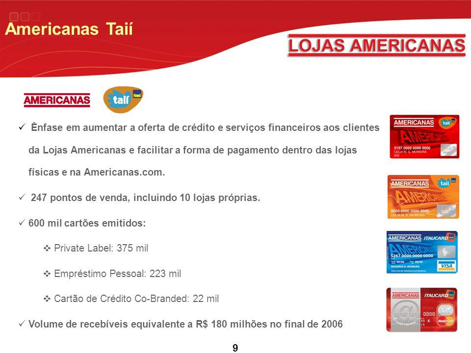 9 Americanas Taií Ênfase em aumentar a oferta de crédito e serviços financeiros aos clientes da Lojas Americanas e facilitar a forma de pagamento dentro das lojas físicas e na Americanas.com.