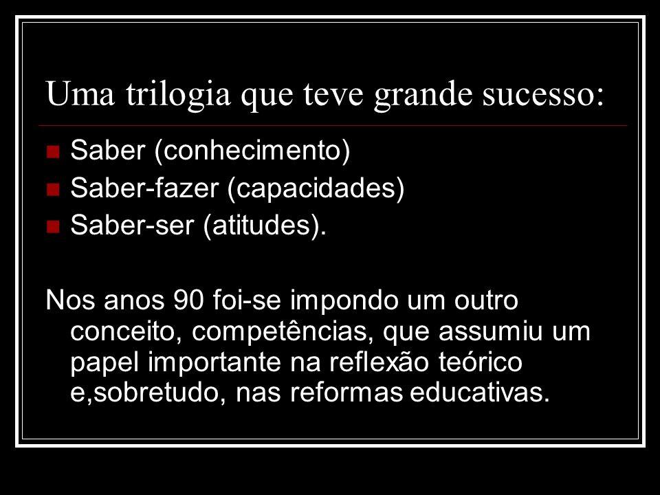 Uma trilogia que teve grande sucesso: Saber (conhecimento) Saber-fazer (capacidades) Saber-ser (atitudes). Nos anos 90 foi-se impondo um outro conceit