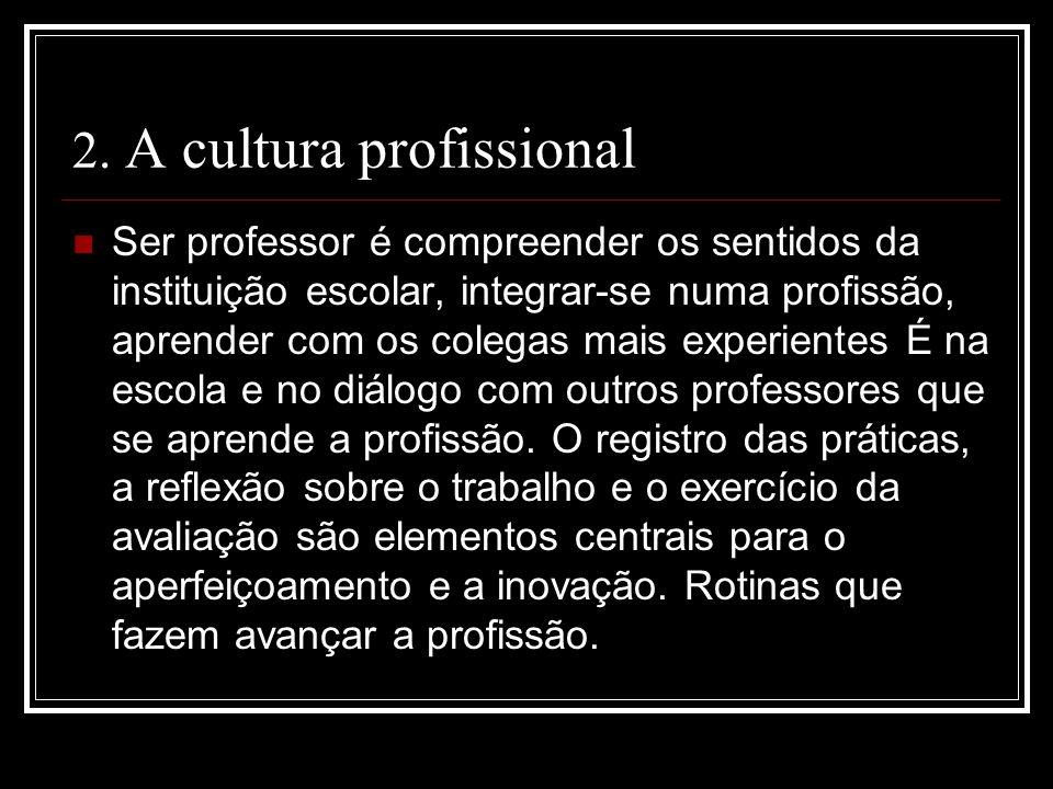 2. A cultura profissional Ser professor é compreender os sentidos da instituição escolar, integrar-se numa profissão, aprender com os colegas mais exp