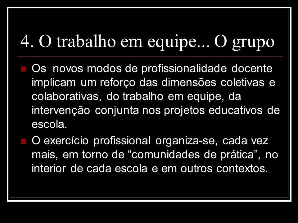 4. O trabalho em equipe... O grupo Os novos modos de profissionalidade docente implicam um reforço das dimensões coletivas e colaborativas, do trabalh