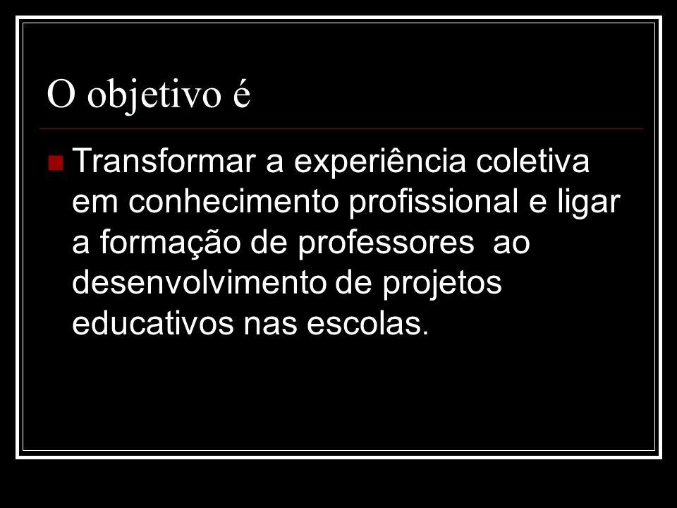 O objetivo é Transformar a experiência coletiva em conhecimento profissional e ligar a formação de professores ao desenvolvimento de projetos educativ