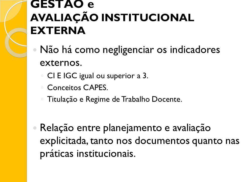 GESTÃO e AVALIAÇÃO INSTITUCIONAL EXTERNA Não há como negligenciar os indicadores externos. CI E IGC igual ou superior a 3. Conceitos CAPES. Titulação