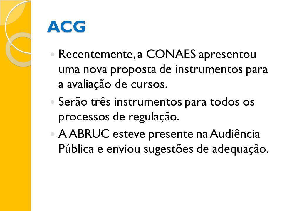 ACG Recentemente, a CONAES apresentou uma nova proposta de instrumentos para a avaliação de cursos. Serão três instrumentos para todos os processos de