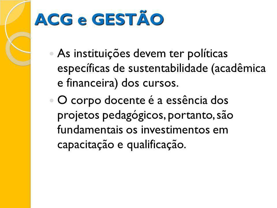 ACG e GESTÃO As instituições devem ter políticas específicas de sustentabilidade (acadêmica e financeira) dos cursos. O corpo docente é a essência dos