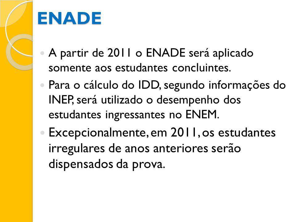 ENADE A partir de 2011 o ENADE será aplicado somente aos estudantes concluintes. Para o cálculo do IDD, segundo informações do INEP, será utilizado o