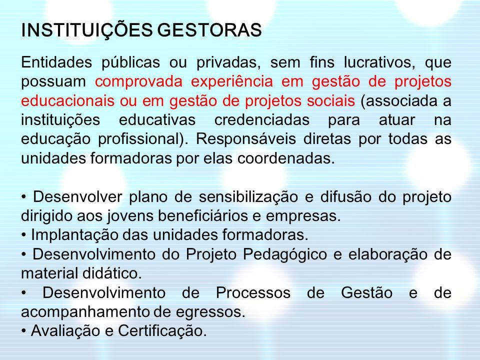 INSTITUIÇÕES GESTORAS Entidades públicas ou privadas, sem fins lucrativos, que possuam comprovada experiência em gestão de projetos educacionais ou em
