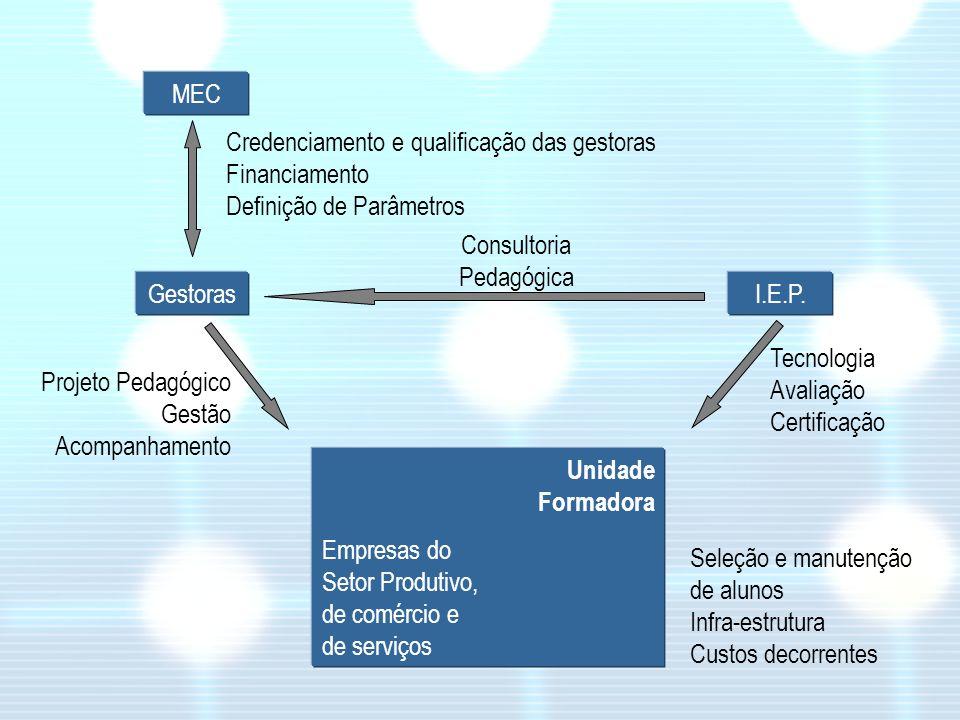 MEC Gestoras Projeto Pedagógico Gestão Acompanhamento Unidade Formadora Empresas do Setor Produtivo, de comércio e de serviços Seleção e manutenção de