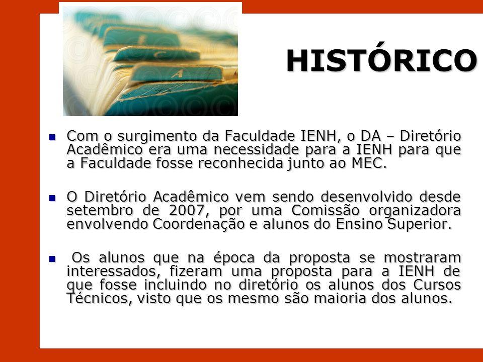 HISTÓRICO Com o surgimento da Faculdade IENH, o DA – Diretório Acadêmico era uma necessidade para a IENH para que a Faculdade fosse reconhecida junto